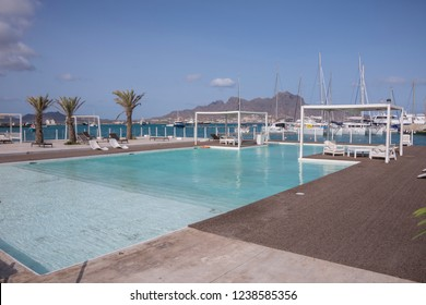 San Vicente, Cape Verde - September 29, 2015: View of the swimming pools and solarium of the Nautico Club in the maritime avenue of the city of MIndelo, capital of the island