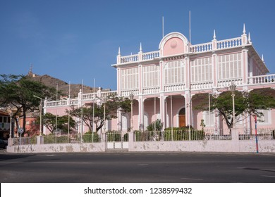 San Vicente, Cape Verde - September 29, 2015: Building of the former governors palace, now converted into a town house, in the urban center of the city of Mindelo, capital of the island