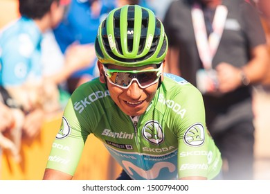 San Vicente de la Barquera, Spain-September 7, 2019: Nairo QUINTANA, cyclist of the Movistar Team during stage 14 of La Vuelta a España.