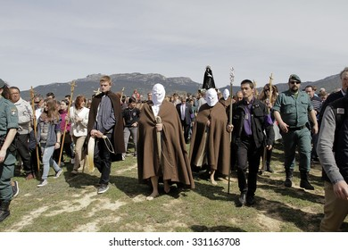 San Vicente de la Sonsierra, Spain March 3, 2015: The Picaos are a penance of the Christian religion,  It consists of the flagellation of the back, a group of people as an act of faith.