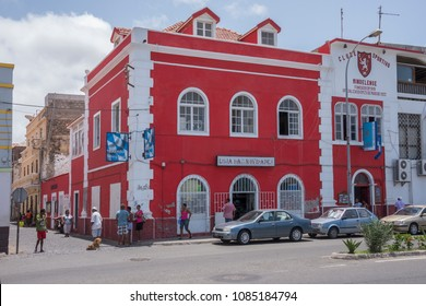 San Vicente island, Cape Verde - september 29, 2015: Old colonial building of red color soothes of the Nautical Club, in the maritime avenue of the city of Mindelo