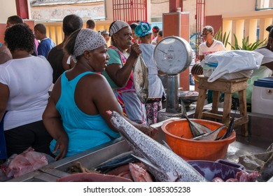 San Vicente island, Cape Verde - september 29, 2015: Women selling fish at the Mercado do Peixe in the center of the city of Mindelo