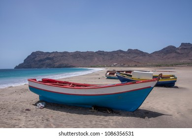 San Vicente island, Cape Verde - september 29, 2015: Fishing boats stranded in the sand of San Pedro beach on the west coast of the island
