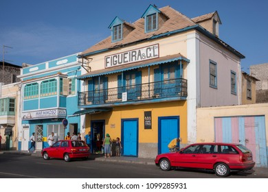 San Vicente island, Cape Verde - september 29, 2015: Colorful buildings of colonial architecture in the maritime avenue of the city of MIndelo, capital of the island