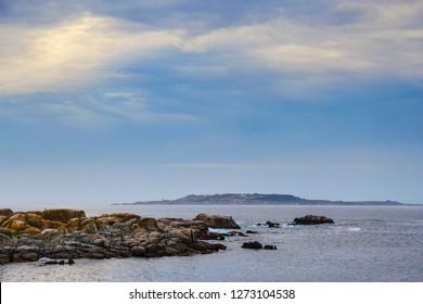 San Vicente of O Grove coast and Salvora Island at background