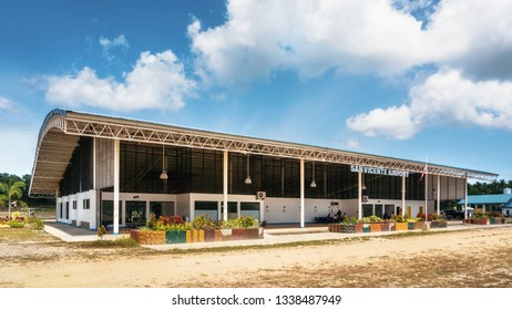 San Vicente, Palawan, Philippines - February 7, 2019: Exterior of small domestic airport with sign
