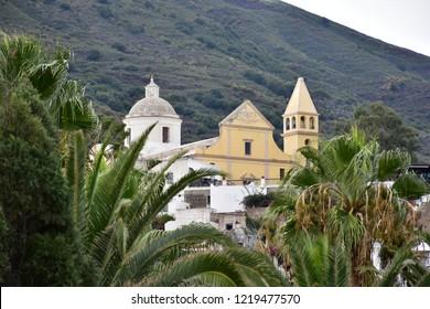 San Vicenzo church on island and volcano Stromboli,Italy