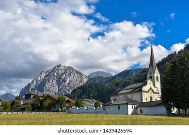 San Vigilio di Marebbe small town in Dolomites mountain