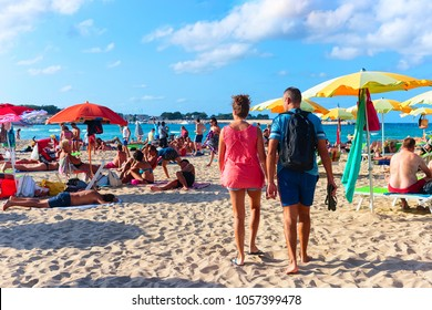 San Vito lo Capo, Italy - September 17, 2017: People on the beach in San Vito lo Capo at the Mediterranean sea, Sicily, Italy