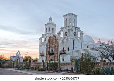 The San Xavier del Bac Mission stands on the Tohono O'odham Indian Reservaton near Tucson, Arizona.