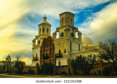 San Xavier del Bac Misson at sunset.