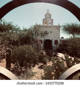 The San Xavier Mission church in Tucson Arizona established by Father Kino.