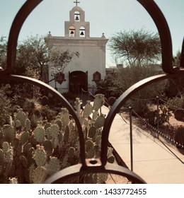 The San Xavier Mission church in Tucson, Arizona established by Father Kino.