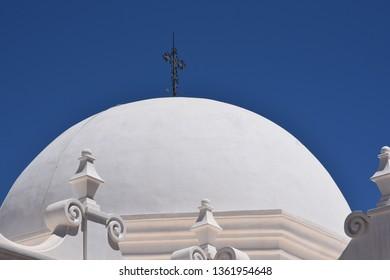 San Xavier mission dome built in the 1700s near Tucson Arizona