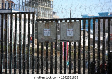 San Yasidro, California - 11/26-2018: Migrant Caravan from south America tries to storm the fences on the south side of the United States boarder fence,