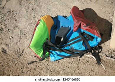 San Ysidro, California - 11/26/2018: Discarded Life Vest and Flipper on the ground. Suspected flotation device from an Mexican national illegally entering the united states.