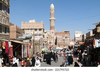 Sana, Yemen - 27 January 2008: people walking and buying on the market of old Sana on Yemen