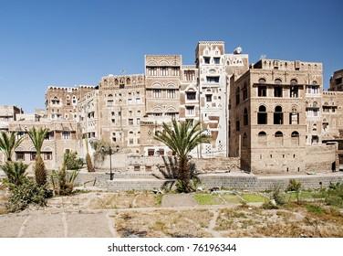sanaa old town, yemen - traditional yemeni architecture