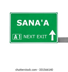 SANA'A road sign isolated on white