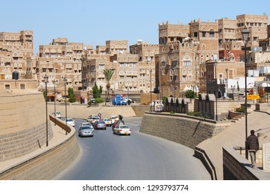 SANAA, YEMEN - DECEMBER 2008: unidentified people on December 22, 2008 on the main road in Sanaa, Yemen. A Zailer dividing the old city from north. to south