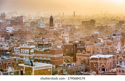 Sanaa, Yemen - February, 20, 2011: Panorama of Sanaa, capital of Yemen