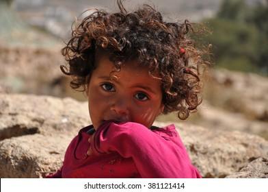 SANAA, YEMEN - Jan, 03: Unidentified Yemeni child on January, 03, 2010. SANAA, YEMEN