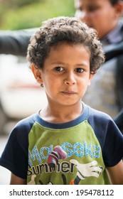 SANA'A, YEMEN - JAN 11, 2014: Unidentified Yemeni boy portrait in Sana'a. Children of Yemen grow up without education