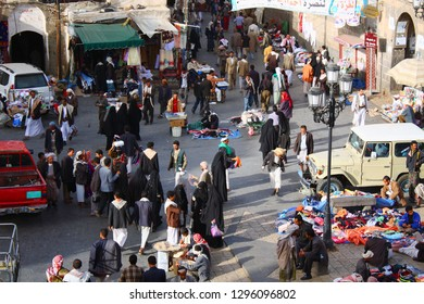 SANAA, YEMEN, JANUARY 2009: unidentified people at Bab al-Yaman bazaar, on January 5, 2009 in Sanaa. The old city of Sanaa is listed as a UNESCO World Heritage Site.