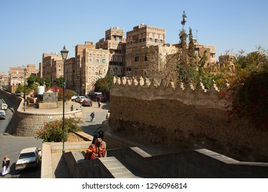 SANAA, YEMEN - JANUARY 2009: unidentified people on January 05, 2009 on the main road in Sanaa, Yemen