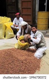 Sana'a, Yemen - July 29, 2010: A market place in Sana'a, the capital of Yemen. Grape Market.