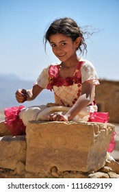 Sanaa, Yemen - March 13, 2010: Unidentified little girl shown in capital of Yemen Sanaa. Children grow up in the poorest country with little opportunity for education