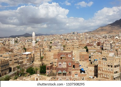 Sanaa, Yemen - March 6, 2010: View on the old Sanaa. The old city of Sanaa is declared a UNESCO World heritage site now destroed due to civil war
