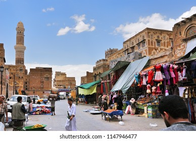 Sanaa, Yemen - March 6, 2010: Street scene in capital of Yemen, Sanaa. Street market. Among other arabic countries, in 2012 Yemen became a site of civil conflicts