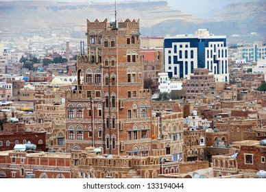 SANAA, YEMEN - MARCH 6: Traditional architecture on Mar 6, 2010 in Sanaa, Yemen. Inhabited for more than 2.500 years at an altitude of 2.200 m, the Old City of Sanaa is a UNESCO World Heritage City.