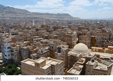 SANAA, YEMEN - SEPTEMBER 09, 2006: View to the Sanaa city in Sanaa, Yemen. The old city of Sanaa is declared a UNESCO World heritage site.