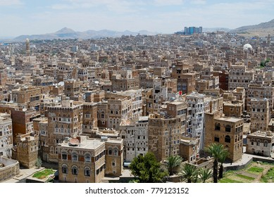 SANAA, YEMEN - SEPTEMBER 09, 2006: Aerial view of the Sanaa city in Sanaa, Yemen. The old city of Sanaa is declared a UNESCO World heritage site.