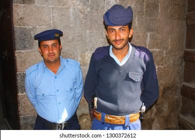 SANAA,YEMEN, JANUARY 2009: unidentified security guards at the National Museum of Yemen, on January 5, 2009 in Sanaa