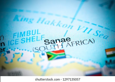 Sanae, South Africa. Antarctica on a map