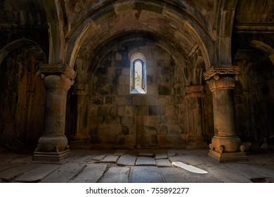 SANAHIN MONASTERY, ALAVERDI, ARMENIA - 01 AUGUST 2017: Interior and game of light in Sanahin Monastery of Northern Armenia