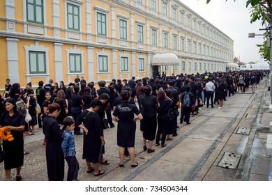 Sanam Luang park, Bangkok, Thailand : 13/10/2017 - more thai people coming for pay respect to King Bhumibol Adulyadej (King Rama 9 of Thailand) on Royal merit making ceremony.