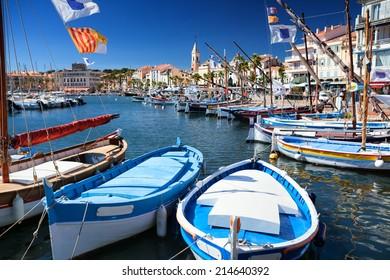 Sanary harbor in Cote d'Azur, France