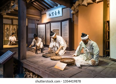 Sancheong, South Korea - March 9, 2019: A model showing the preparation of medicinal herbs in an oriental medical clinic. This is displayed in the Oriental Medicine Museum in Donguibogam Village.