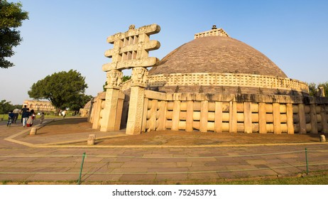 Sanchi / India 17 October 2017  panoramic view of Sanchi Great Stupa Ancient Buddhist Monument at Sanchi  Madhya Pradesh India