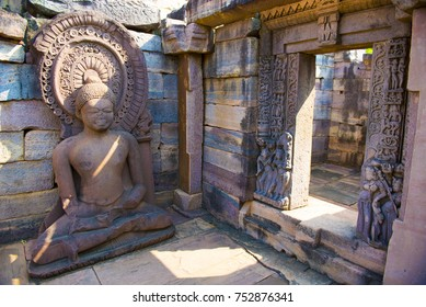 Sanchi / India 17 October 2017 Ancient Buddha statue at the ruins of the Great Stupa in Sanchi  Madhya Pradesh India