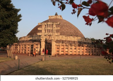 SANCHI, INDIA - NOV 14: Unidentified people visit the Buddhist monument Sanchi Stupa on November 14, 2016 in Sanchi, Madhya Pradesh, India. Its a UNESCO world heritage site in India.