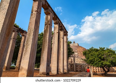 Sanchi, Madhya Pradesh, India - October 23, 2015 : Pillars of sanchi, A part of The Great Sanchi Stupa, Buddhist Architecture at sanchi, Madhya Pradesh, India