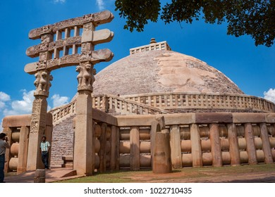 Sanchi, Madhya Pradesh, India - September 22, 2007 : The Great Sanchi Stupa, Buddhist Architecture at sanchi, Madhya Pradesh, India