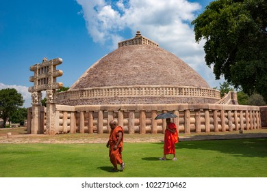 Sanchi, Madhya Pradesh, India - September 22, 2007 : The Great Sanchi Stupa, Buddhist Architecture at sanchi, Madhya Pradesh, India