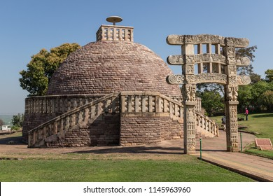 Sanchi Stupa 3 - ancient Buddhist monument. Sanchi, Madhya Pradesh, India