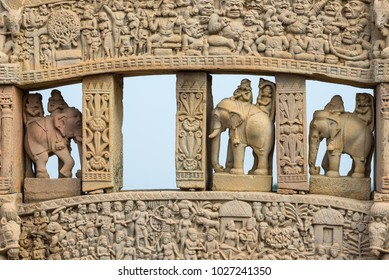 Sanchi Stupa, ancient buddhist hindu statue details, religion mystery, carved stone. Travel destination in Madhya Pradesh, India.